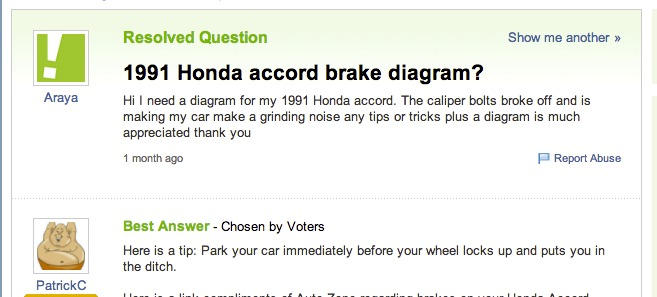 BAD BRAKES: There are no dumb questions, except this one…