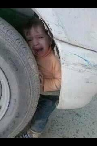 Found this in my rss feed this morning. This kid has a future as a mechanic, or maybe a professional hide-and-go-seek player.