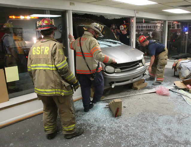 Car crashed into an auto body shop in New Holland, Pennsylvania