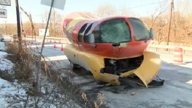 Oscar Mayer Wienermobile Crashes In Pennsylvania also Wienermobile Crash additionally Oscar Meyer Wienermobile Loses Sword Fight With Pole 1686016734 moreover Oscar Meyer Wiener Mobile Takes A Beating On Icy Road in addition That Wienermobile Crash Photo Facebook Its From 2008. on oscar mayer wienermobile slid off the road